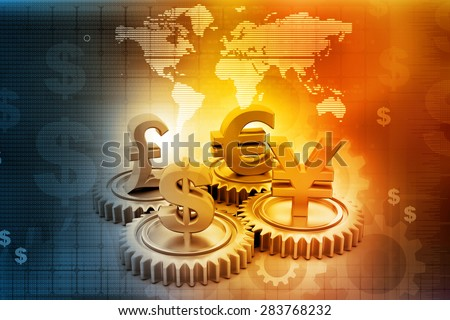 3d gear with global currency on abstract business background  - stock photo