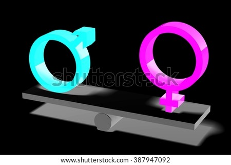 3D gender/ sex concept - male/ female. - stock photo