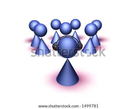 3D generated business meeting - stock photo