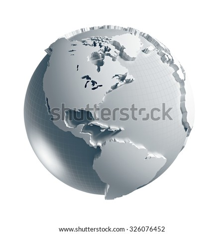 3D generated Globe. America side. Clipping path included