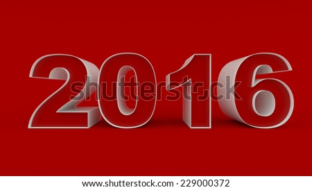 3D generated image of 2016 text on red background