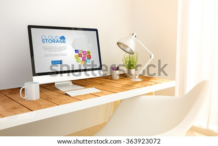 3d generated minimalist workspace with cloud storage computer screen computer and copyspace. 3d illustration. all screen graphics are made up. - stock photo