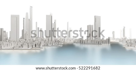 3d generic city with frozen lake on white background 3D illustration