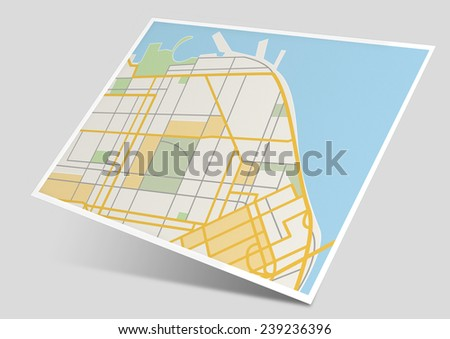 3D generic simplified city map using flat design floating above a grey background with shadow - stock photo