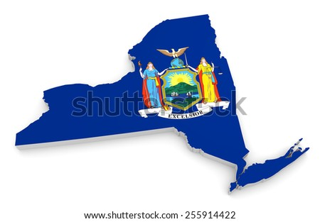 3D geographic outline map of New York with the state flag - stock photo