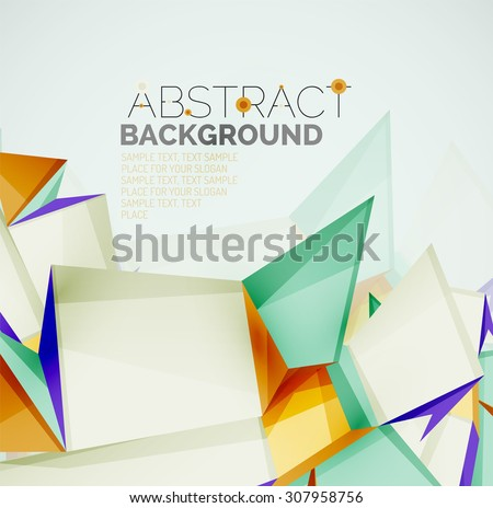 3d geometric shapes with sample text. Abstract template with place for text or infographic options. Triangles, squares, cubes, rectangles in glossy style.  illustration.