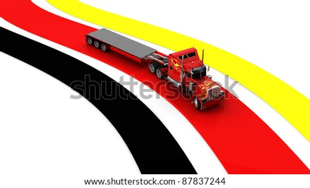 3D German transport Truck including clipping path - stock photo