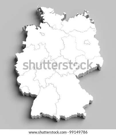 3D Germany white map with regions and main cities - stock photo