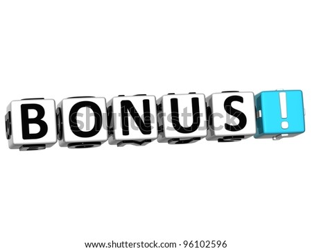 3D Get Bonus Credits Block Letters over white background - stock photo