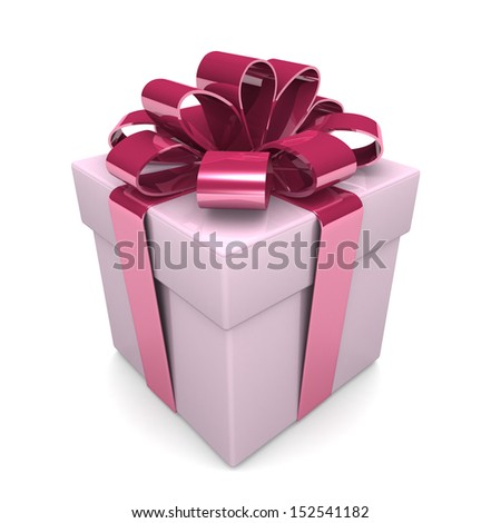 3d gift box - design element for various holiday designs: Christmas, Valentine's day, New Year Celebrations Birthdays .