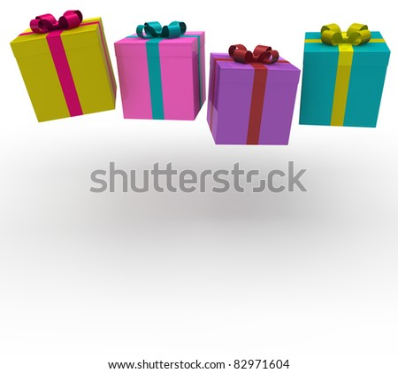 3d gift box red green purple pink celebration - stock photo
