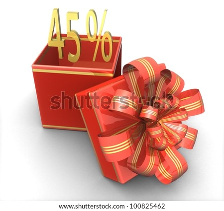 3d gift box with a sign 45% discount on a white background isolated