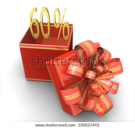 3d gift box with a sign 60% discount on a white background isolated