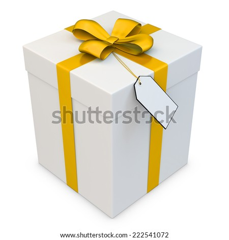 3d gift box with blank tag over white background - stock photo