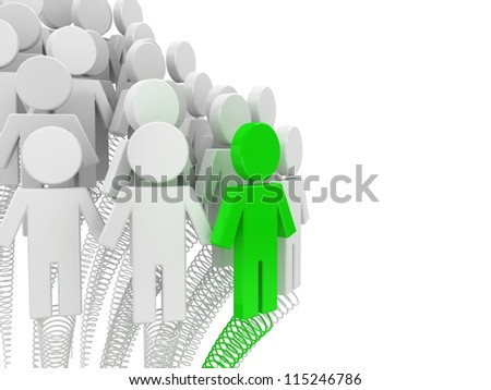3d gift box with puppets. Concept of office work. Unique, Competitive advantage - stock photo