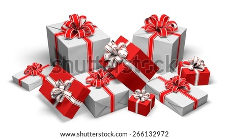 3D. Gift, Stack, Christmas. - stock photo