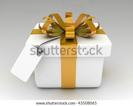 3d gift with blank note paper isolated-high res.