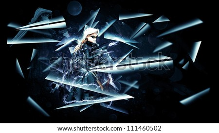3D Girl with army weapons in black coat and sun glasses.