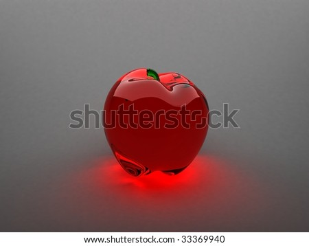 3d glass apple - stock photo