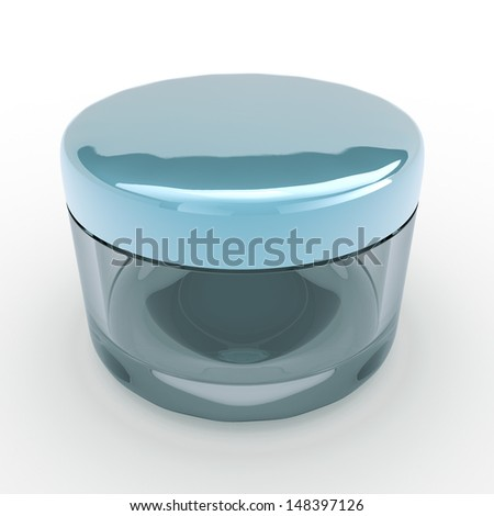 3d glass jar cream and blue caps, lids packaging for products in isolated background with clipping paths, work paths included  - stock photo