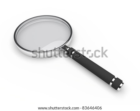 3d glass magnifying lens search zoom view - stock photo