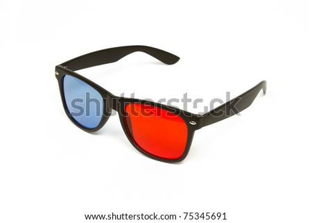 3d Glasses - Classic Red / Blue 3d Glasses Isolated on a White Background