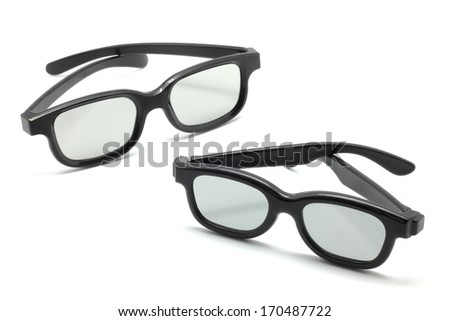 3D glasses for children and adults isolated on white background - stock photo
