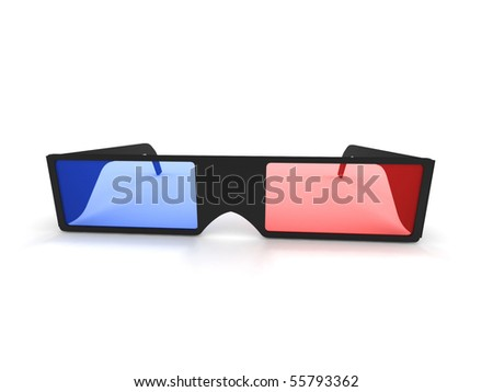 3D glasses isolated on white background. High quality 3d render. - stock photo