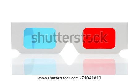 3d glasses isolated over white - stock photo