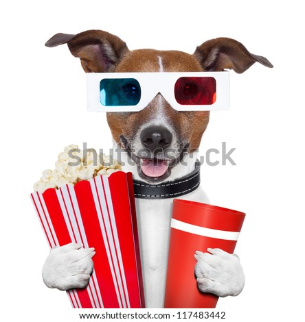 3 d glasses movie popcorn dog watching a film - stock photo