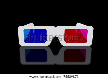3d glasses on black background - stock photo