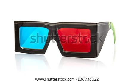 3d glasses on white background - stock photo