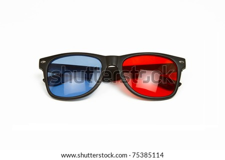 3D Glasses - Red / Blue Anaglyph 3D Glasses Isolated on a White Background - stock photo