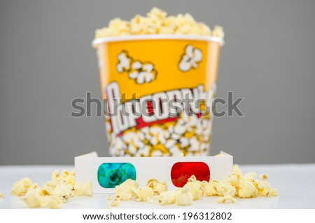 3d glasses with popcorn in background - stock photo