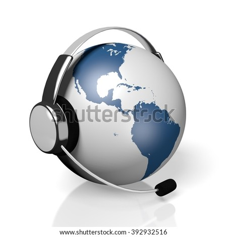 3D global call center - headset concept.