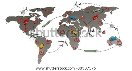 3d global transport routes concept on white background