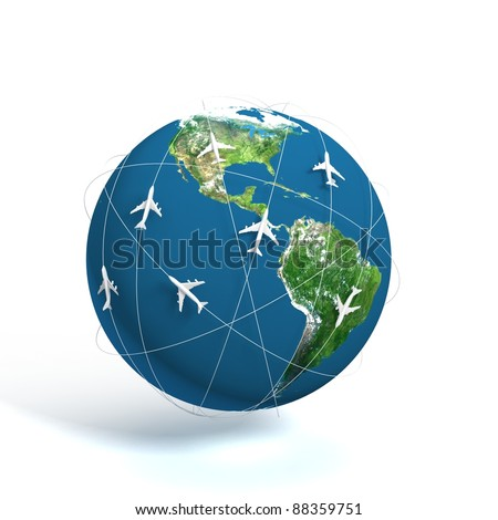 3D global world travel - stock photo