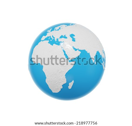 3D Globe, Africa and Asia view. Isolated on white background. Elements of this image furnished by NASA - stock photo