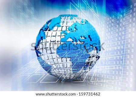 3d globe icon - stock photo