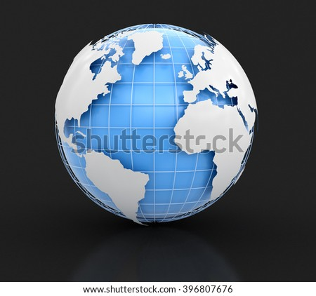 3d Globe. Image with clipping path Elements of this image furnished by NASA