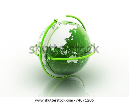 3D Globe in white background - stock photo