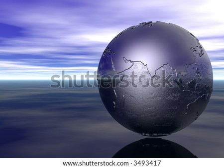 3D Globe: Indian Ocean - stock photo