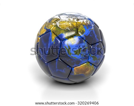 3d globe on soccer ball isolated. Elements of this image furnished by NASA - stock photo