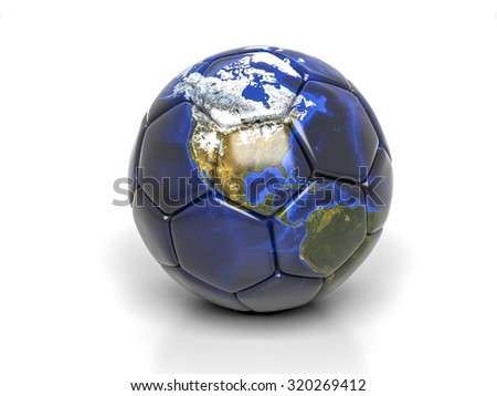 3d globe on soccer ball isolated. Elements of this image furnished by NASA