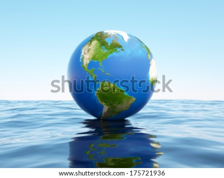 3d globe on the water. Elements of this image furnished by NASA. - stock photo
