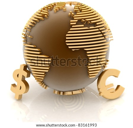 3d globe with gold currency symbols on white background - stock photo