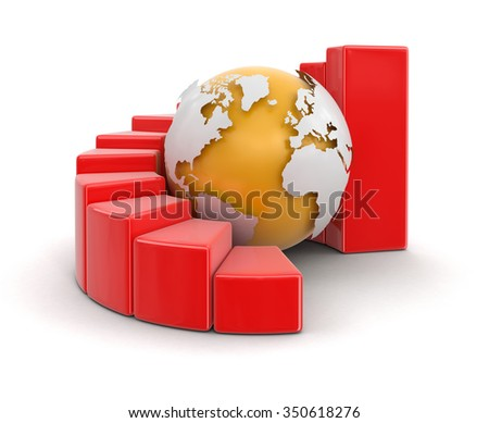 3d globe with graph. Image with clipping path Elements of this image furnished by NASA - stock photo