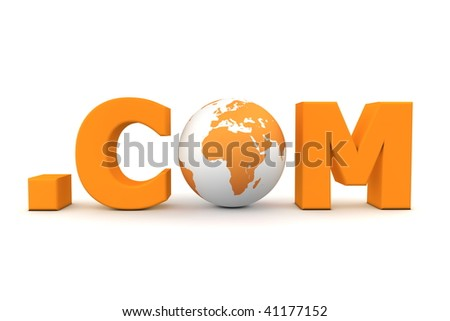 3D globe with word dot com in orange - front view - stock photo