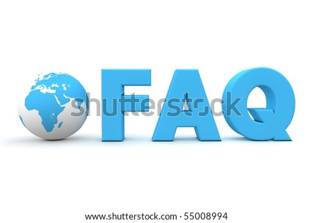 3D globe with word FAQ in blue - stock photo
