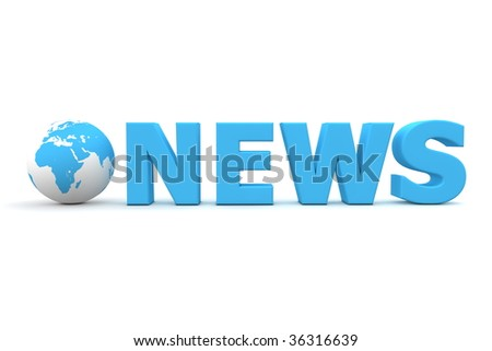 3D globe with word News in blue - front view